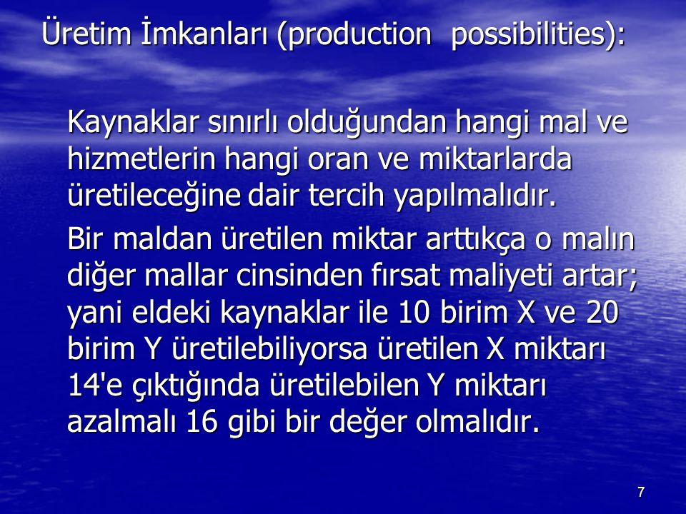 Üretim İmkanları (production possibilities): Kaynaklar sınırlı olduğundan hangi mal ve hizmetlerin hangi oran ve miktarlarda üretileceğine dair tercih