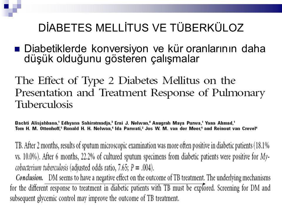 DİABETES MELLİTUS VE TÜBERKÜLOZ Diabetiklerde konversiyon ve kür oranlarının daha düşük olduğunu gösteren çalışmalar