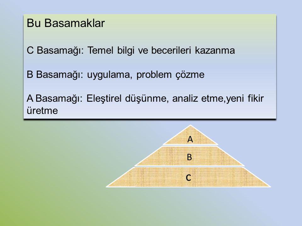 c B A Bu Basamaklar C Basamağı: Temel bilgi ve becerileri kazanma B Basamağı: uygulama, problem çözme A Basamağı: Eleştirel düşünme, analiz etme,yeni