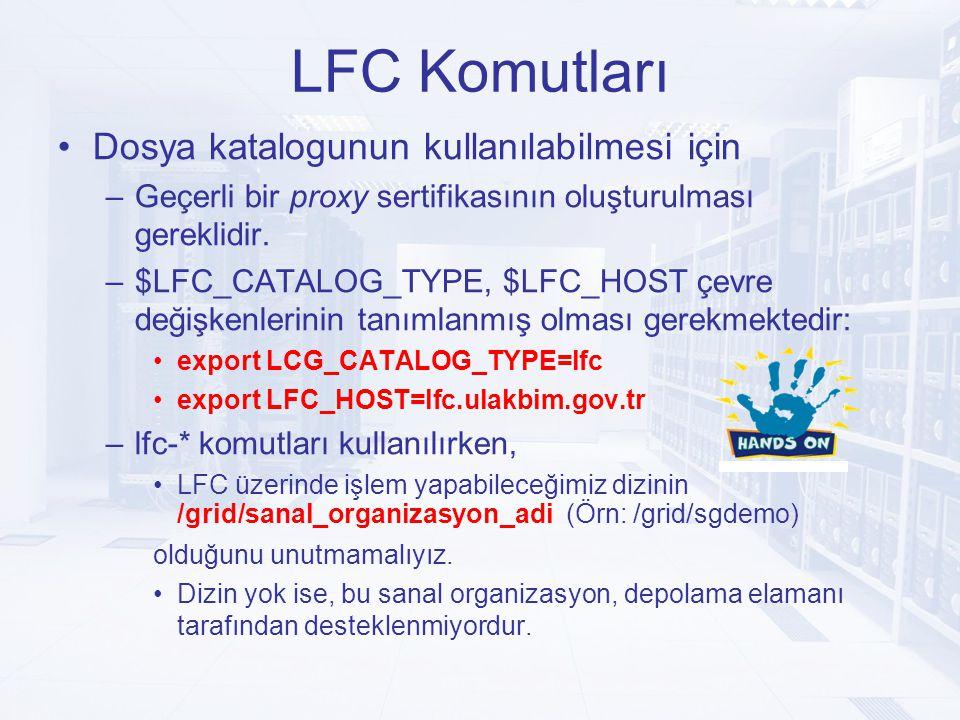 LFC Komutları Dosya katalogunun kullanılabilmesi için –Geçerli bir proxy sertifikasının oluşturulması gereklidir.