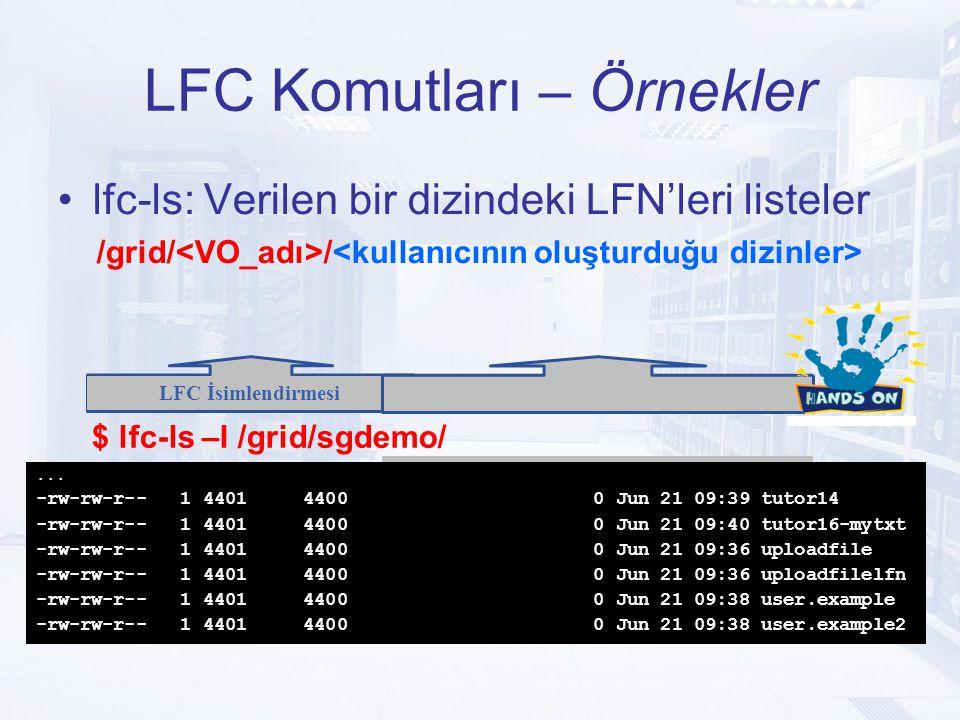 LFC Komutları – Örnekler lfc-ls: Verilen bir dizindeki LFN'leri listeler /grid/ / LFC İsimlendirmesi Kullanıcı tarafından tanımlanır $ lfc-ls –l /grid/sgdemo/...