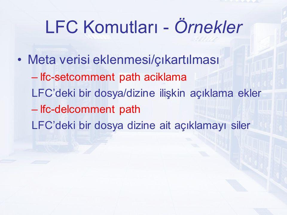LFC Komutları - Örnekler Meta verisi eklenmesi/çıkartılması –lfc-setcomment path aciklama LFC'deki bir dosya/dizine ilişkin açıklama ekler –lfc-delcomment path LFC'deki bir dosya dizine ait açıklamayı siler