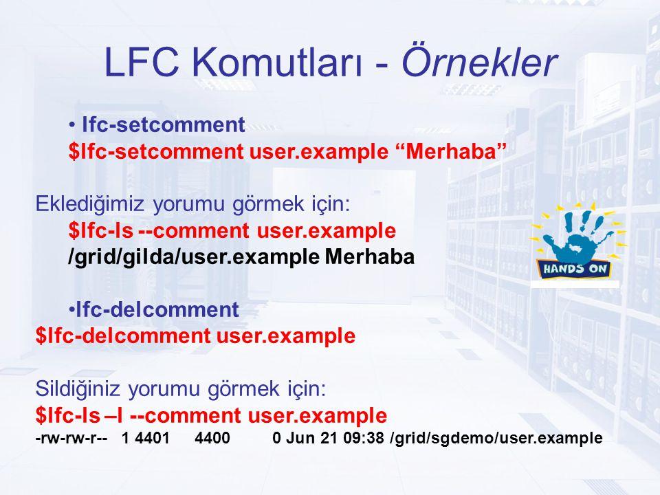 LFC Komutları - Örnekler lfc-setcomment $lfc-setcomment user.example Merhaba Eklediğimiz yorumu görmek için: $lfc-ls --comment user.example /grid/gilda/user.example Merhaba lfc-delcomment $lfc-delcomment user.example Sildiğiniz yorumu görmek için: $lfc-ls –l --comment user.example -rw-rw-r-- 1 4401 4400 0 Jun 21 09:38 /grid/sgdemo/user.example