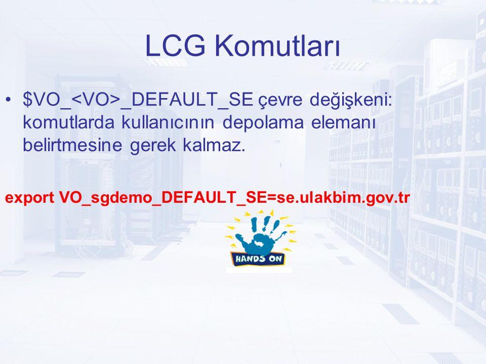 LCG Komutları $VO_ _DEFAULT_SE çevre değişkeni: komutlarda kullanıcının depolama elemanı belirtmesine gerek kalmaz.