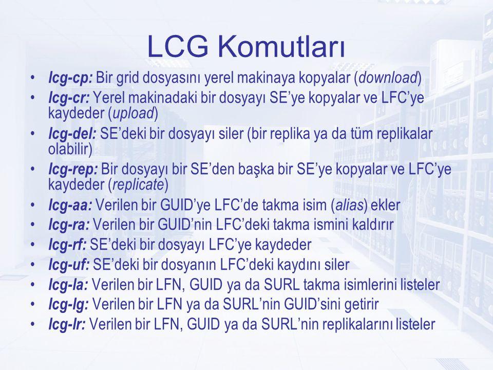 LCG Komutları lcg-cp: Bir grid dosyasını yerel makinaya kopyalar ( download )  lcg-cr: Yerel makinadaki bir dosyayı SE'ye kopyalar ve LFC'ye kaydeder ( upload )  lcg-del: SE'deki bir dosyayı siler (bir replika ya da tüm replikalar olabilir)  lcg-rep: Bir dosyayı bir SE'den başka bir SE'ye kopyalar ve LFC'ye kaydeder ( replicate )  lcg-aa: Verilen bir GUID'ye LFC'de takma isim ( alias ) ekler lcg-ra: Verilen bir GUID'nin LFC'deki takma ismini kaldırır lcg-rf: SE'deki bir dosyayı LFC'ye kaydeder lcg-uf: SE'deki bir dosyanın LFC'deki kaydını siler lcg-la: Verilen bir LFN, GUID ya da SURL takma isimlerini listeler lcg-lg: Verilen bir LFN ya da SURL'nin GUID'sini getirir lcg-lr: Verilen bir LFN, GUID ya da SURL'nin replikalarını listeler