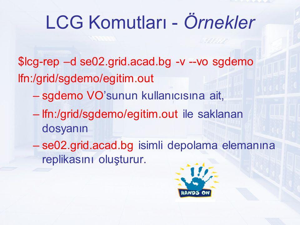 LCG Komutları - Örnekler $lcg-rep –d se02.grid.acad.bg -v --vo sgdemo lfn:/grid/sgdemo/egitim.out –sgdemo VO'sunun kullanıcısına ait, –lfn:/grid/sgdemo/egitim.out ile saklanan dosyanın –se02.grid.acad.bg isimli depolama elemanına replikasını oluşturur.