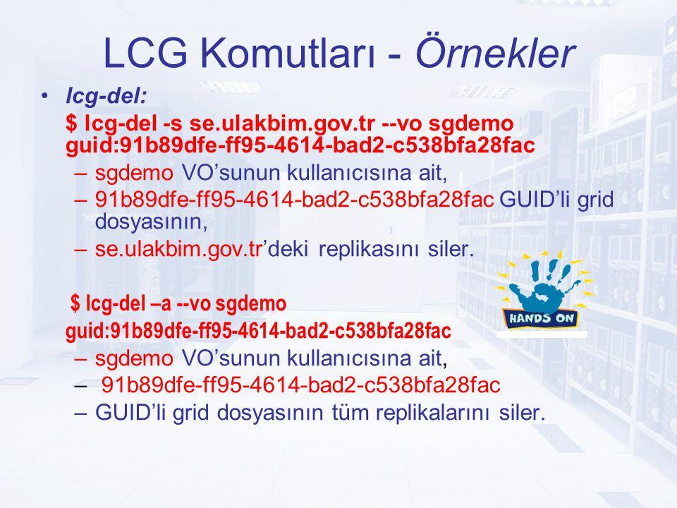 LCG Komutları - Örnekler lcg-del: $ lcg-del -s se.ulakbim.gov.tr --vo sgdemo guid:91b89dfe-ff95-4614-bad2-c538bfa28fac –sgdemo VO'sunun kullanıcısına ait, –91b89dfe-ff95-4614-bad2-c538bfa28fac GUID'li grid dosyasının, –se.ulakbim.gov.tr'deki replikasını siler.