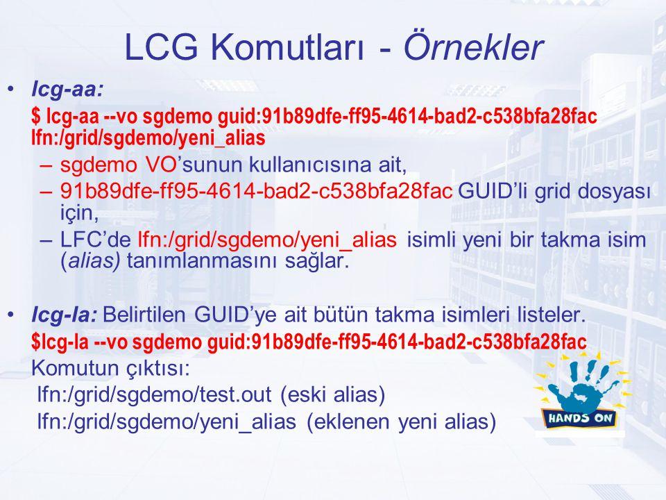 LCG Komutları - Örnekler lcg-aa: $ lcg-aa --vo sgdemo guid:91b89dfe-ff95-4614-bad2-c538bfa28fac lfn:/grid/sgdemo/yeni_alias –sgdemo VO'sunun kullanıcısına ait, –91b89dfe-ff95-4614-bad2-c538bfa28fac GUID'li grid dosyası için, –LFC'de lfn:/grid/sgdemo/yeni_alias isimli yeni bir takma isim (alias) tanımlanmasını sağlar.