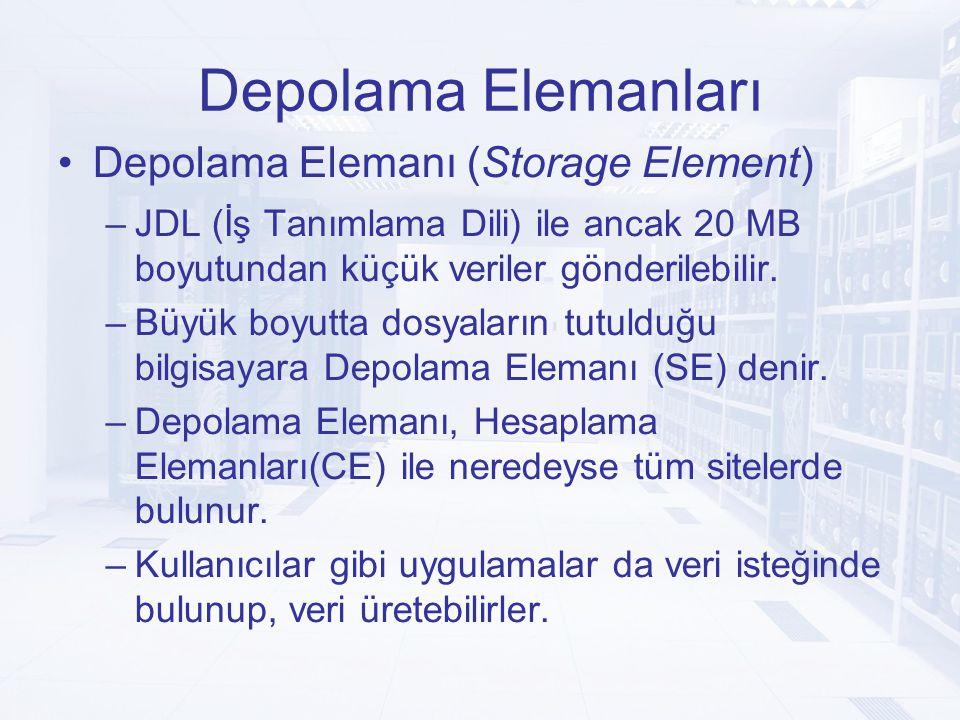 Depolama Elemanları Depolama Elemanı (Storage Element) –JDL (İş Tanımlama Dili) ile ancak 20 MB boyutundan küçük veriler gönderilebilir.