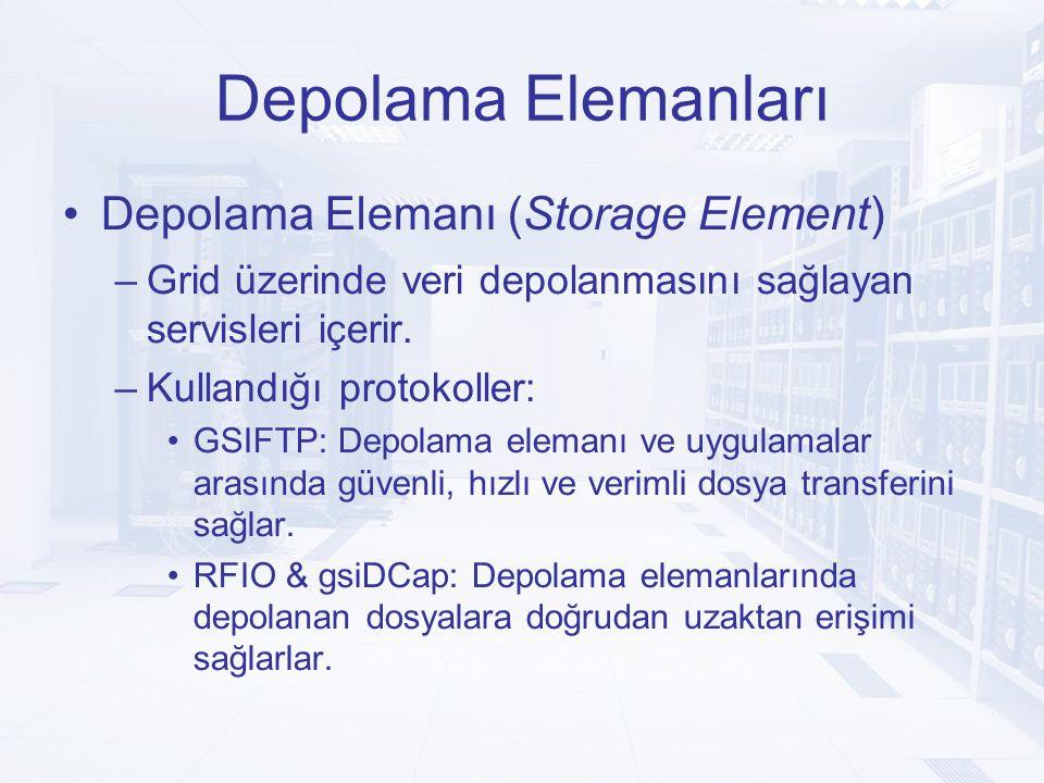 Depolama Elemanları Depolama Elemanı (Storage Element) –Grid üzerinde veri depolanmasını sağlayan servisleri içerir.