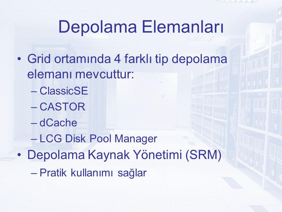 Depolama Elemanları Grid ortamında 4 farklı tip depolama elemanı mevcuttur: –ClassicSE –CASTOR –dCache –LCG Disk Pool Manager Depolama Kaynak Yönetimi (SRM) –Pratik kullanımı sağlar