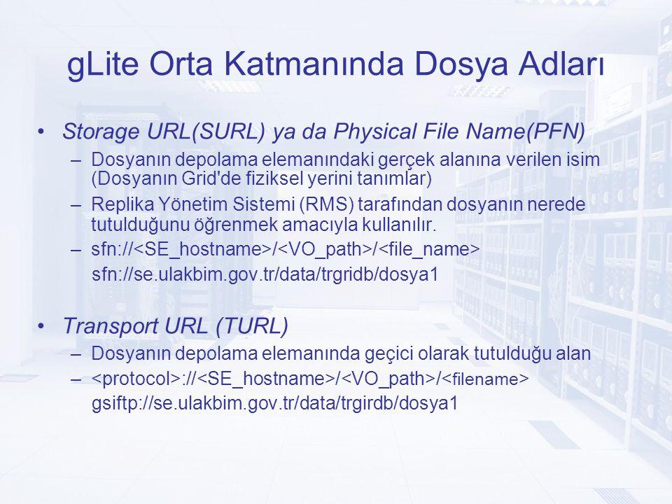 gLite Orta Katmanında Dosya Adları Storage URL(SURL) ya da Physical File Name(PFN) –Dosyanın depolama elemanındaki gerçek alanına verilen isim (Dosyanın Grid de fiziksel yerini tanımlar) –Replika Yönetim Sistemi (RMS) tarafından dosyanın nerede tutulduğunu öğrenmek amacıyla kullanılır.