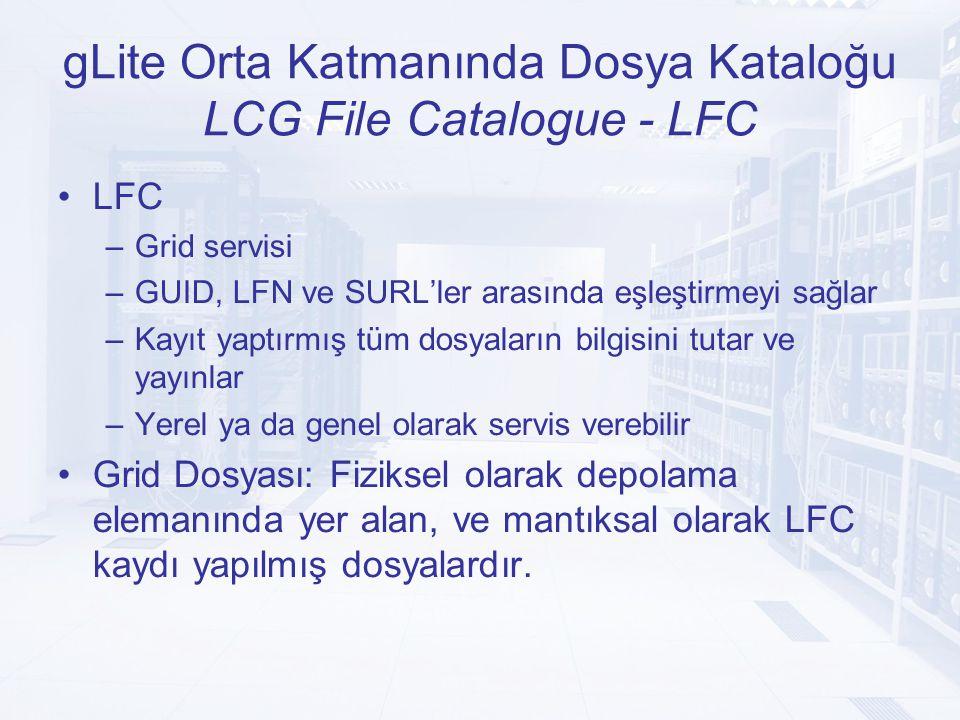gLite Orta Katmanında Dosya Kataloğu GUID Xxxxxx-xxxx-xxx-xxx- Sistem Meta Verisi size => 10234 cksum_type => MD5 cksum => yy-yy-yy Replika srm://host.example.com/foo/bar host.example.com Replika sfn://host.example.com/foo/bar host.example.com Sembolik Bağlantı / grid/dteam/mydir/mylink / grid/dteam/dir1/dir2/file1.root Kullanıcı Meta Verisi Kullanıcı Tanımlı Meta Veri