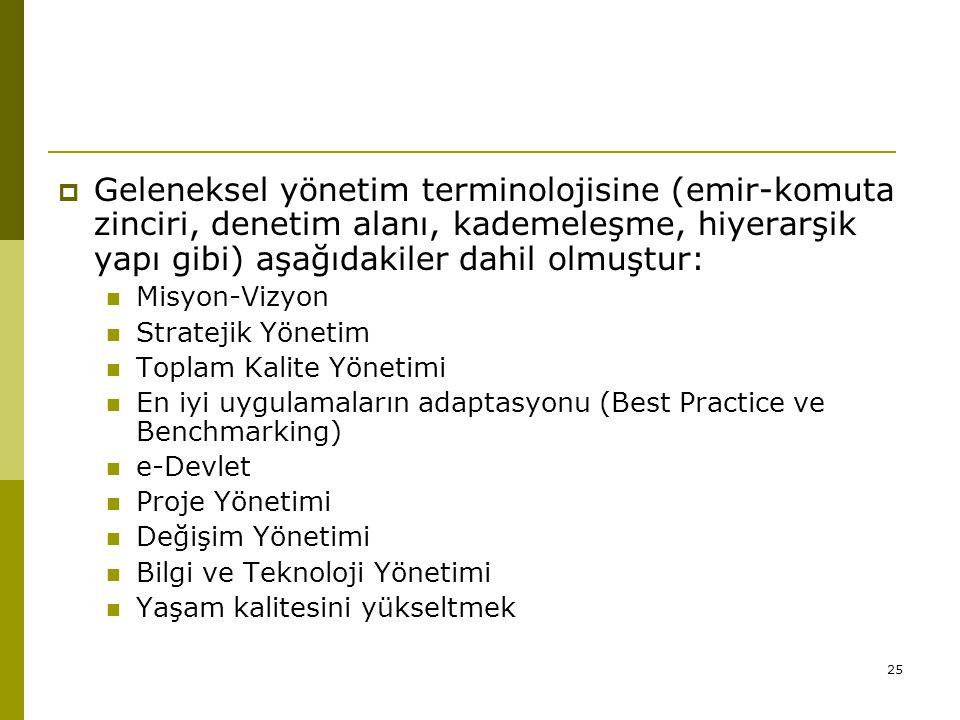 25  Geleneksel yönetim terminolojisine (emir-komuta zinciri, denetim alanı, kademeleşme, hiyerarşik yapı gibi) aşağıdakiler dahil olmuştur: Misyon-Vi