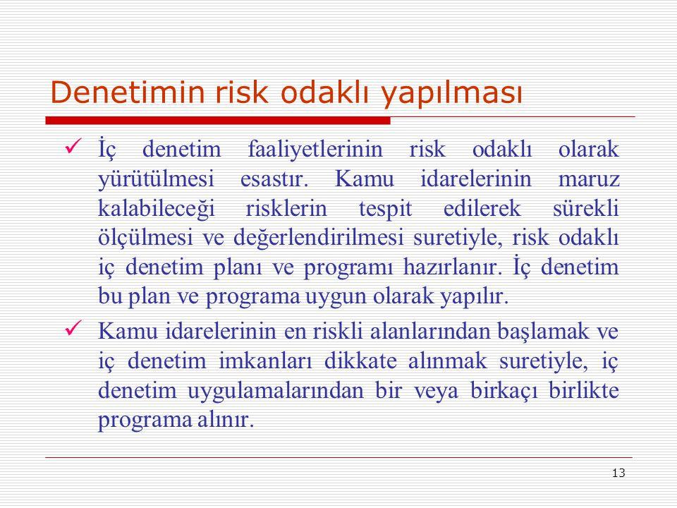 13 Denetimin risk odaklı yapılması İç denetim faaliyetlerinin risk odaklı olarak yürütülmesi esastır. Kamu idarelerinin maruz kalabileceği risklerin t