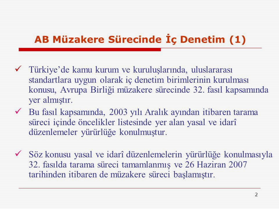 2 AB Müzakere Sürecinde İç Denetim (1) Türkiye'de kamu kurum ve kuruluşlarında, uluslararası standartlara uygun olarak iç denetim birimlerinin kurulma