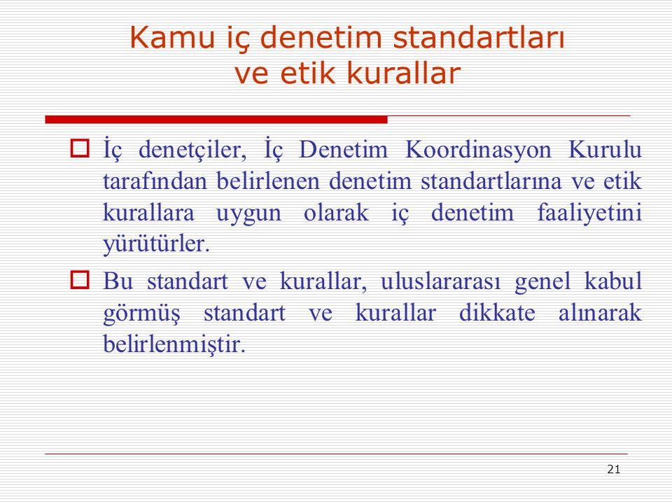 21 Kamu iç denetim standartları ve etik kurallar  İç denetçiler, İç Denetim Koordinasyon Kurulu tarafından belirlenen denetim standartlarına ve etik