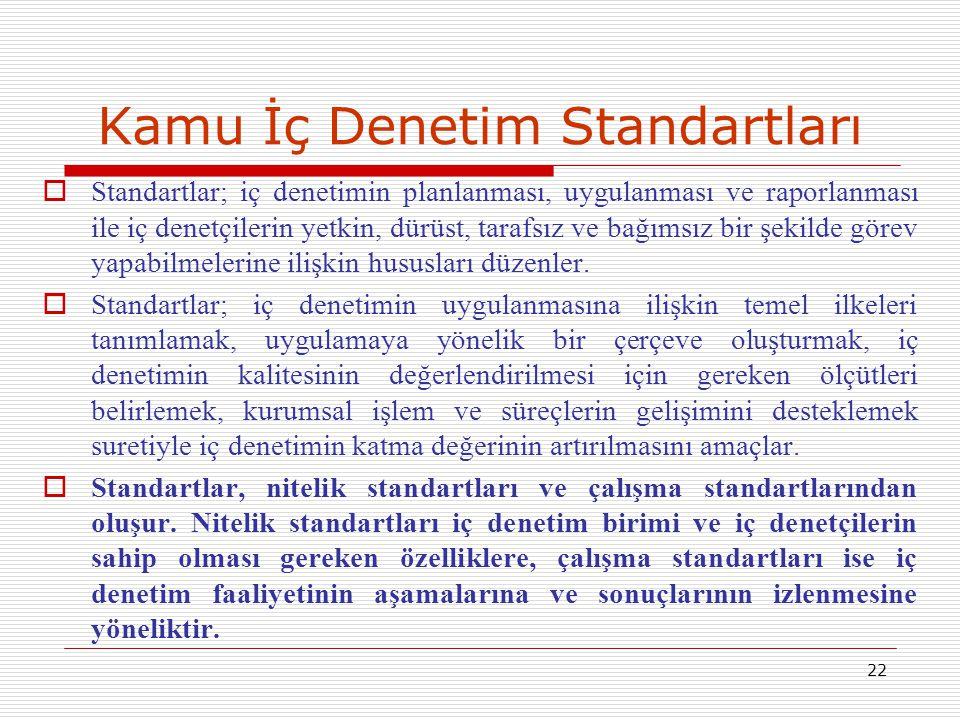 22 Kamu İç Denetim Standartları  Standartlar; iç denetimin planlanması, uygulanması ve raporlanması ile iç denetçilerin yetkin, dürüst, tarafsız ve b