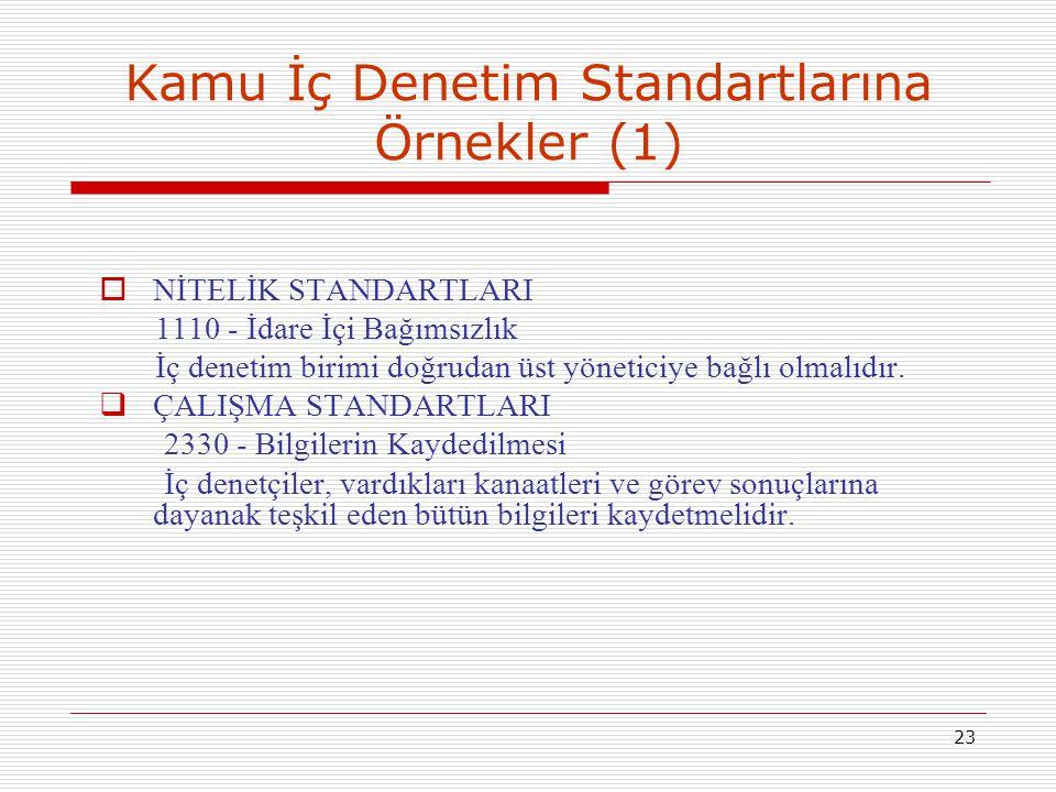23 Kamu İç Denetim Standartlarına Örnekler (1)  NİTELİK STANDARTLARI 1110 - İdare İçi Bağımsızlık İç denetim birimi doğrudan üst yöneticiye bağlı olm