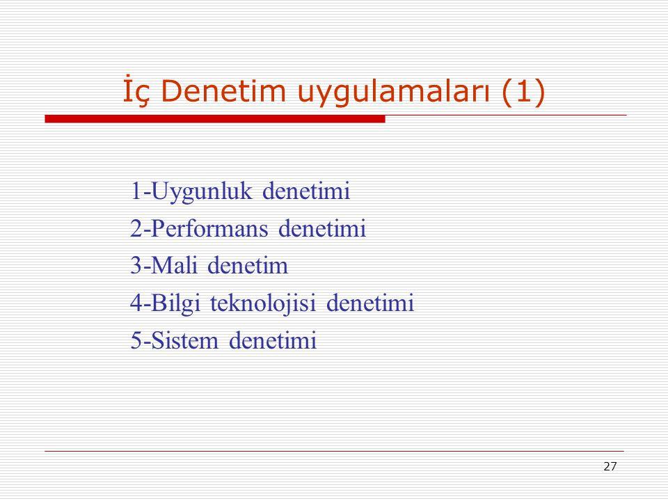 27 İç Denetim uygulamaları (1) 1-Uygunluk denetimi 2-Performans denetimi 3-Mali denetim 4-Bilgi teknolojisi denetimi 5-Sistem denetimi