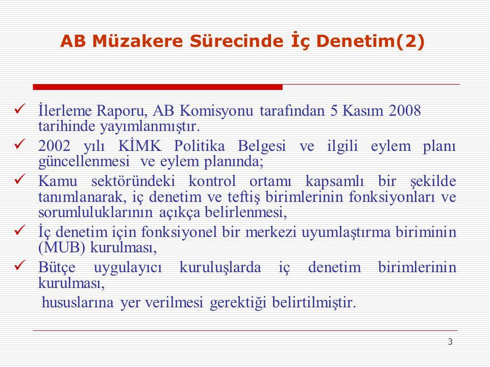 3 AB Müzakere Sürecinde İç Denetim(2) İlerleme Raporu, AB Komisyonu tarafından 5 Kasım 2008 tarihinde yayımlanmıştır. 2002 yılı KİMK Politika Belgesi