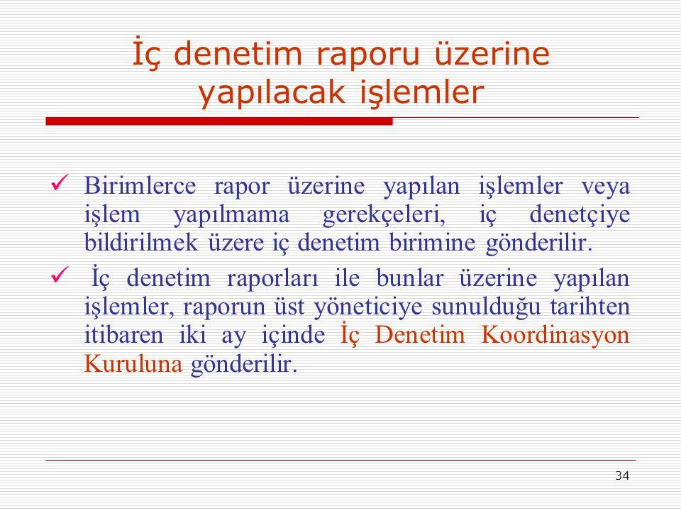 34 İç denetim raporu üzerine yapılacak işlemler Birimlerce rapor üzerine yapılan işlemler veya işlem yapılmama gerekçeleri, iç denetçiye bildirilmek ü