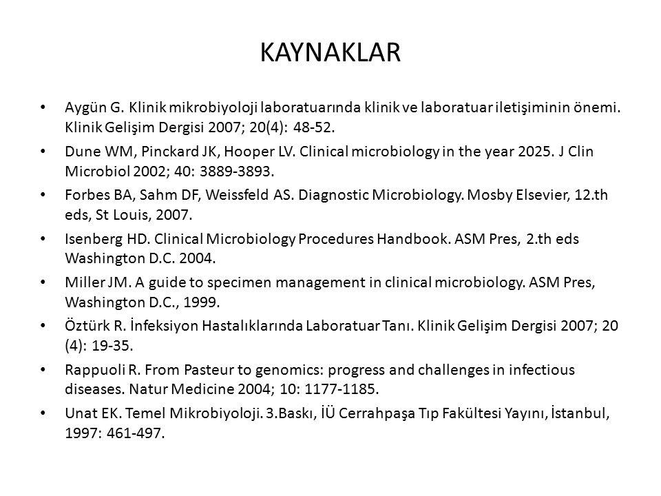 KAYNAKLAR Aygün G. Klinik mikrobiyoloji laboratuarında klinik ve laboratuar iletişiminin önemi. Klinik Gelişim Dergisi 2007; 20(4): 48-52. Dune WM, Pi
