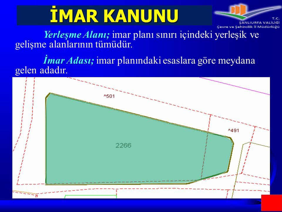 İMAR KANUNU Yerleşme Alanı; Yerleşme Alanı; imar planı sınırı içindeki yerleşik ve gelişme alanlarının tümüdür. İmar Adası; İmar Adası; imar planındak