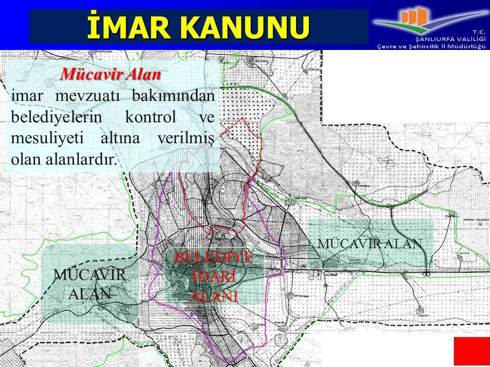 İMAR KANUNU Mücavir Alan imar mevzuatı bakımından belediyelerin kontrol ve mesuliyeti altına verilmiş olan alanlardır. MÜCAVİR ALAN BELEDİYE İDARİ ALA