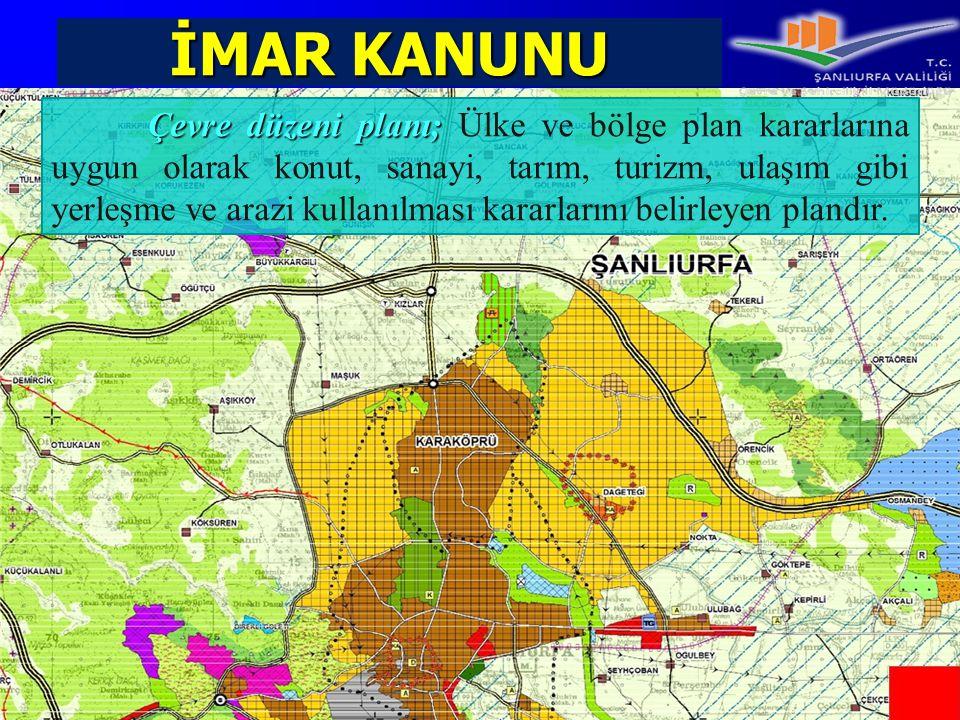 İMAR KANUNU Çevre düzeni planı; Çevre düzeni planı; Ülke ve bölge plan kararlarına uygun olarak konut, sanayi, tarım, turizm, ulaşım gibi yerleşme ve