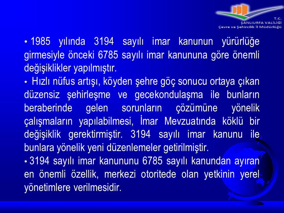 1985 yılında 3194 sayılı imar kanunun yürürlüğe girmesiyle önceki 6785 sayılı imar kanununa göre önemli değişiklikler yapılmıştır. Hızlı nüfus artışı,
