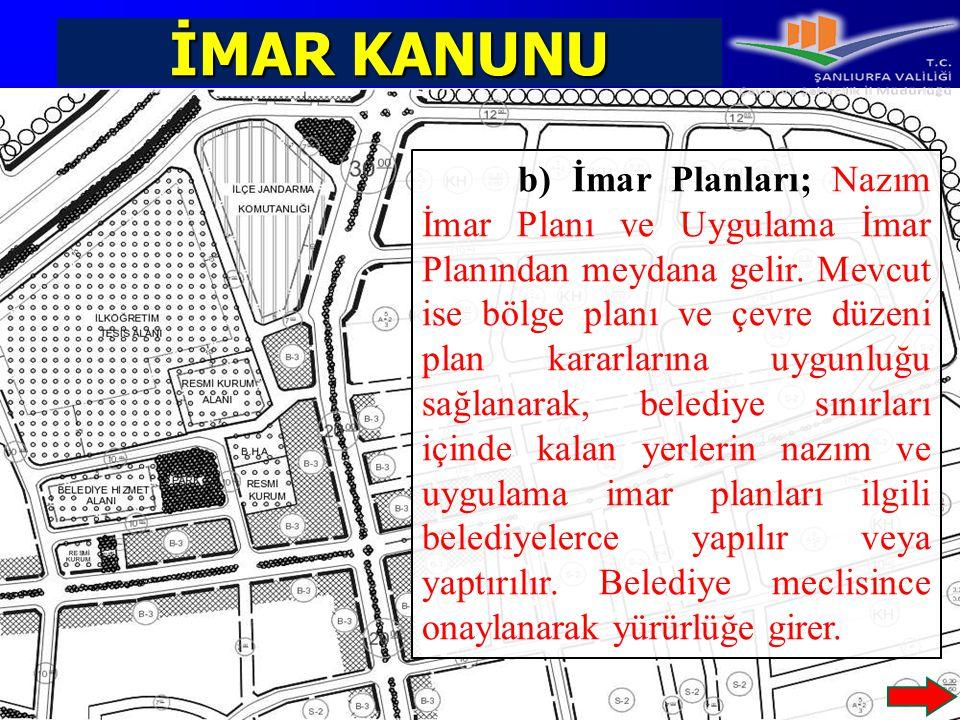 İMAR KANUNU b) İmar Planları; Nazım İmar Planı ve Uygulama İmar Planından meydana gelir. Mevcut ise bölge planı ve çevre düzeni plan kararlarına uygun