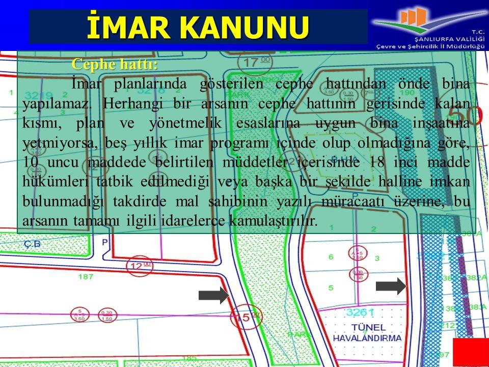 İMAR KANUNU Cephe hattı: İmar planlarında gösterilen cephe hattından önde bina yapılamaz. Herhangi bir arsanın cephe hattının gerisinde kalan kısmı, p