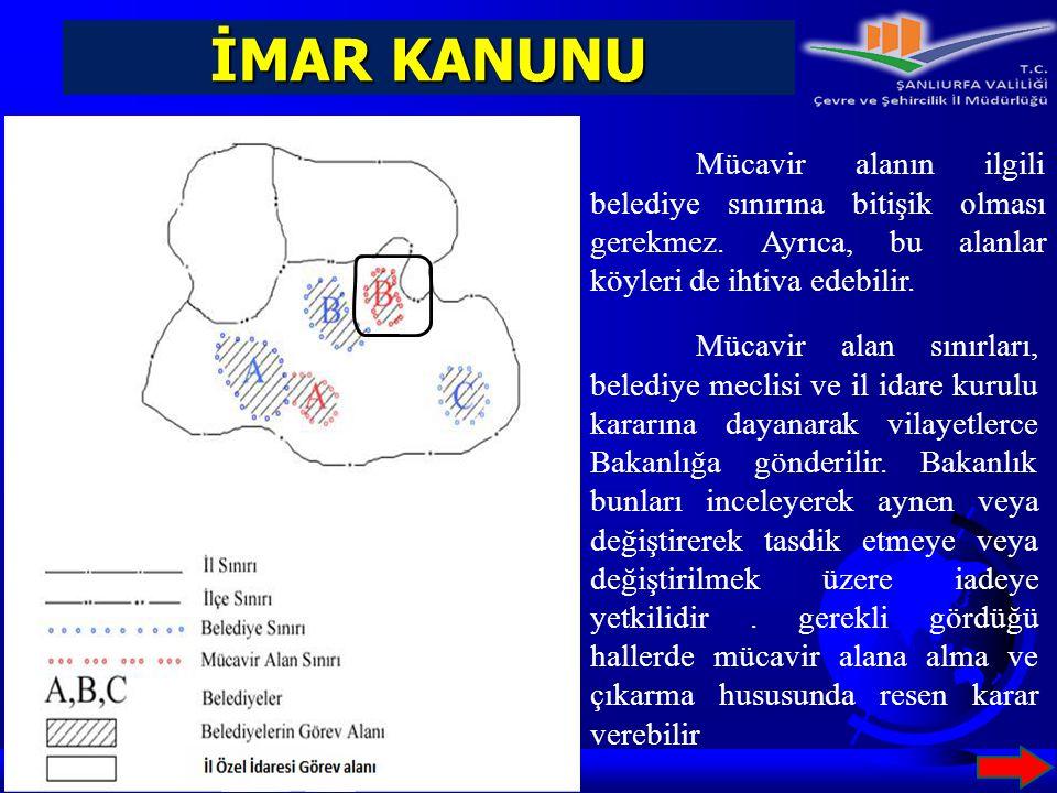 İMAR KANUNU Mücavir alan sınırları, belediye meclisi ve il idare kurulu kararına dayanarak vilayetlerce Bakanlığa gönderilir. Bakanlık bunları inceley