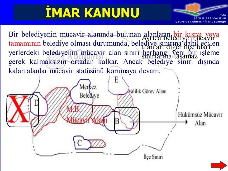İMAR KANUNU Bir belediyenin mücavir alanında bulunan alanların bir kısmı veya tamamının belediye olması durumunda, belediye sınırına dahil edilen yerl
