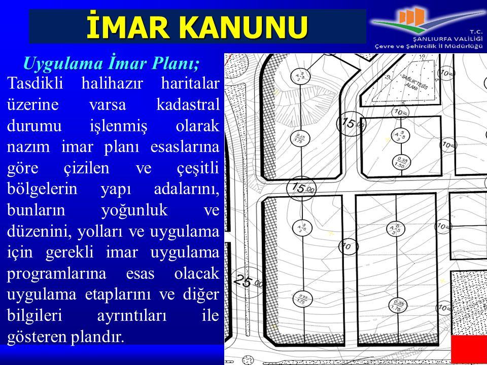 İMAR KANUNU Yerleşme Alanı; Yerleşme Alanı; imar planı sınırı içindeki yerleşik ve gelişme alanlarının tümüdür.