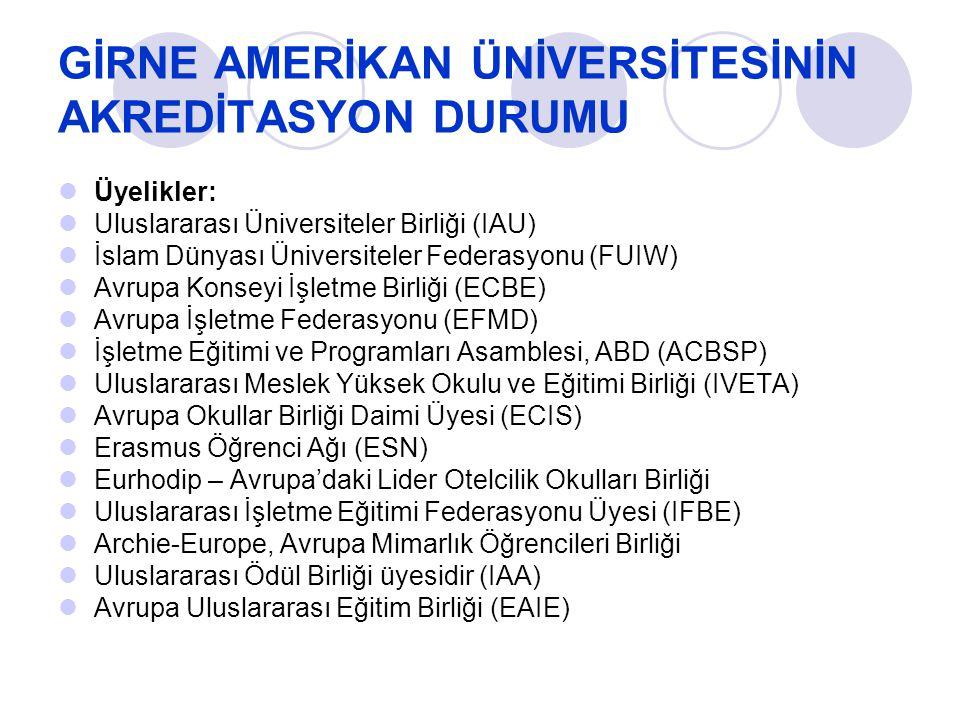 GİRNE AMERİKAN ÜNİVERSİTESİNİN AKREDİTASYON DURUMU Üyelikler: Uluslararası Üniversiteler Birliği (IAU) İslam Dünyası Üniversiteler Federasyonu (FUIW)