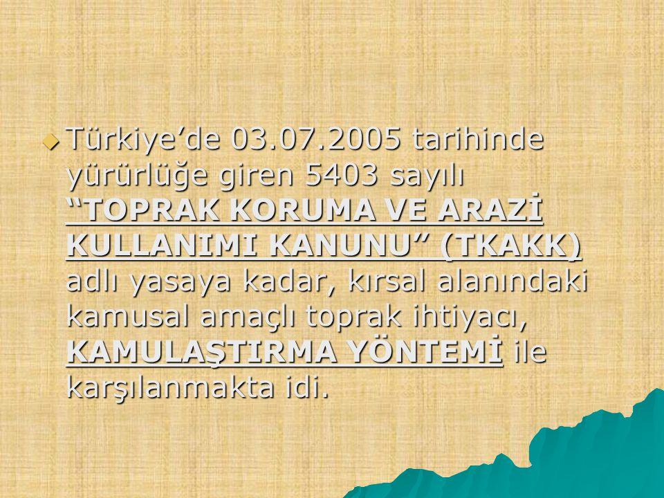  Türkiye'de 03.07.2005 tarihinde yürürlüğe giren 5403 sayılı TOPRAK KORUMA VE ARAZİ KULLANIMI KANUNU (TKAKK) adlı yasaya kadar, kırsal alanındaki kamusal amaçlı toprak ihtiyacı, KAMULAŞTIRMA YÖNTEMİ ile karşılanmakta idi.