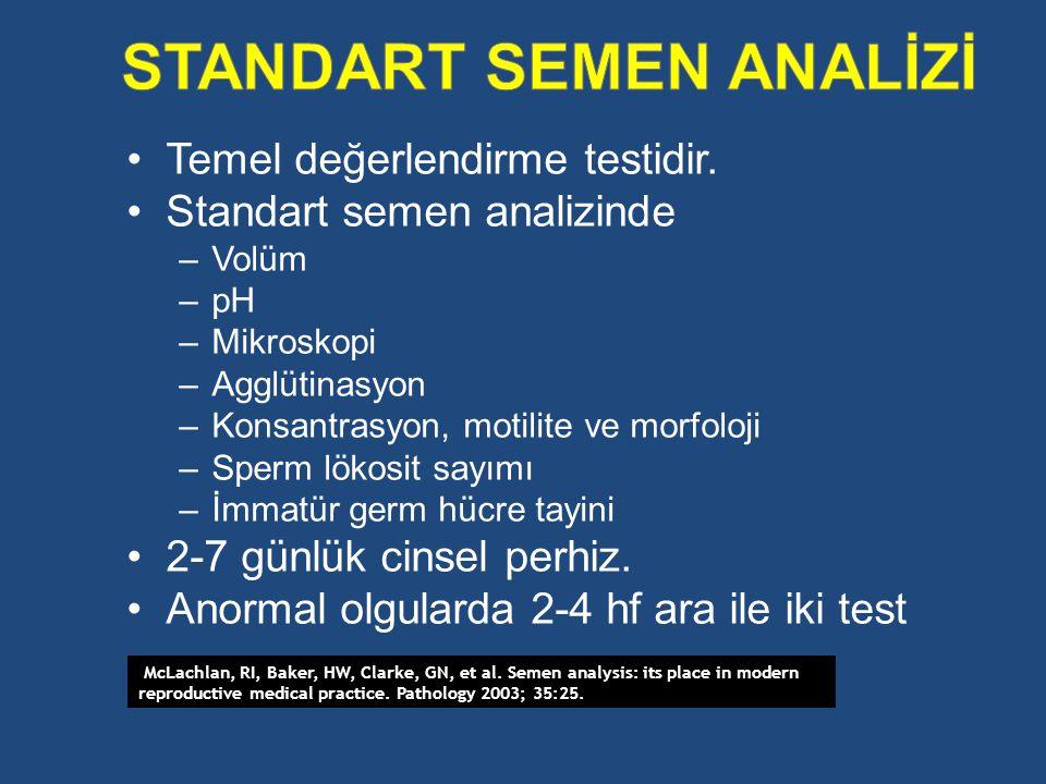 Temel değerlendirme testidir. Standart semen analizinde –Volüm –pH –Mikroskopi –Agglütinasyon –Konsantrasyon, motilite ve morfoloji –Sperm lökosit say