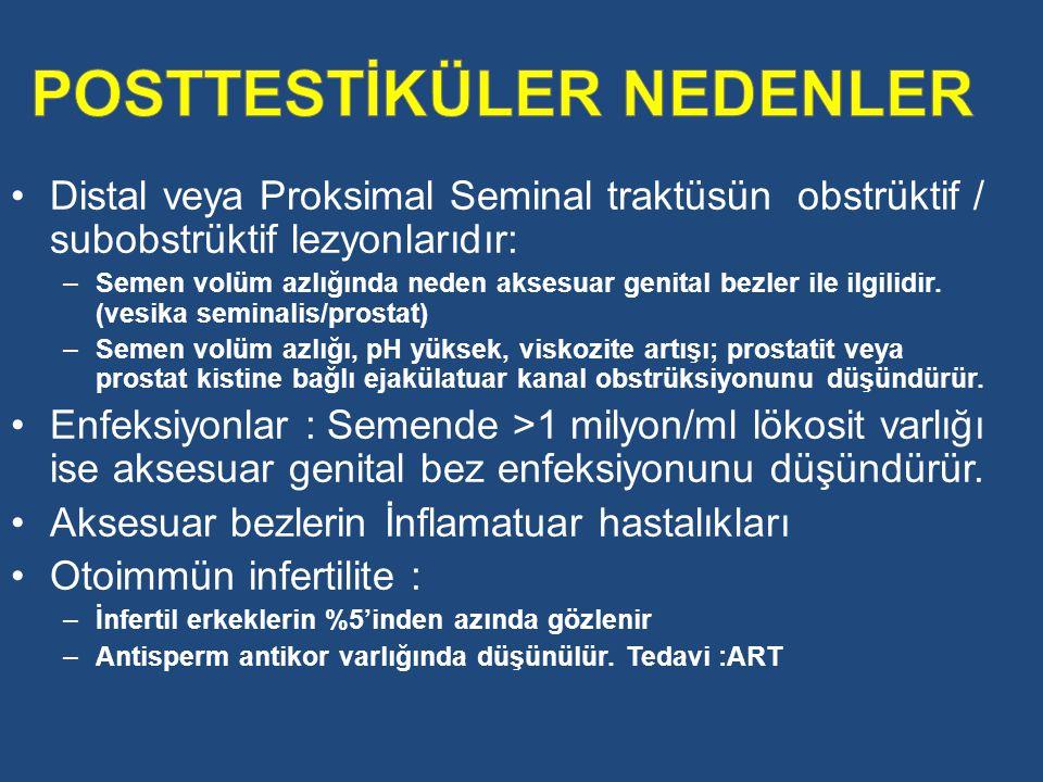 Distal veya Proksimal Seminal traktüsün obstrüktif / subobstrüktif lezyonlarıdır: –Semen volüm azlığında neden aksesuar genital bezler ile ilgilidir.