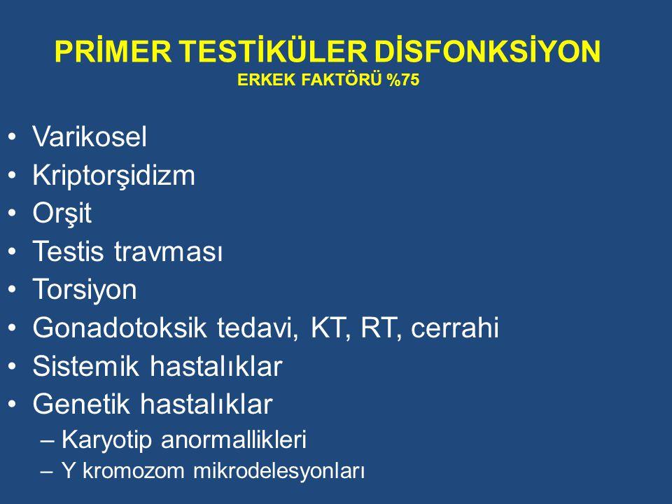 Varikosel Kriptorşidizm Orşit Testis travması Torsiyon Gonadotoksik tedavi, KT, RT, cerrahi Sistemik hastalıklar Genetik hastalıklar –Karyotip anormal