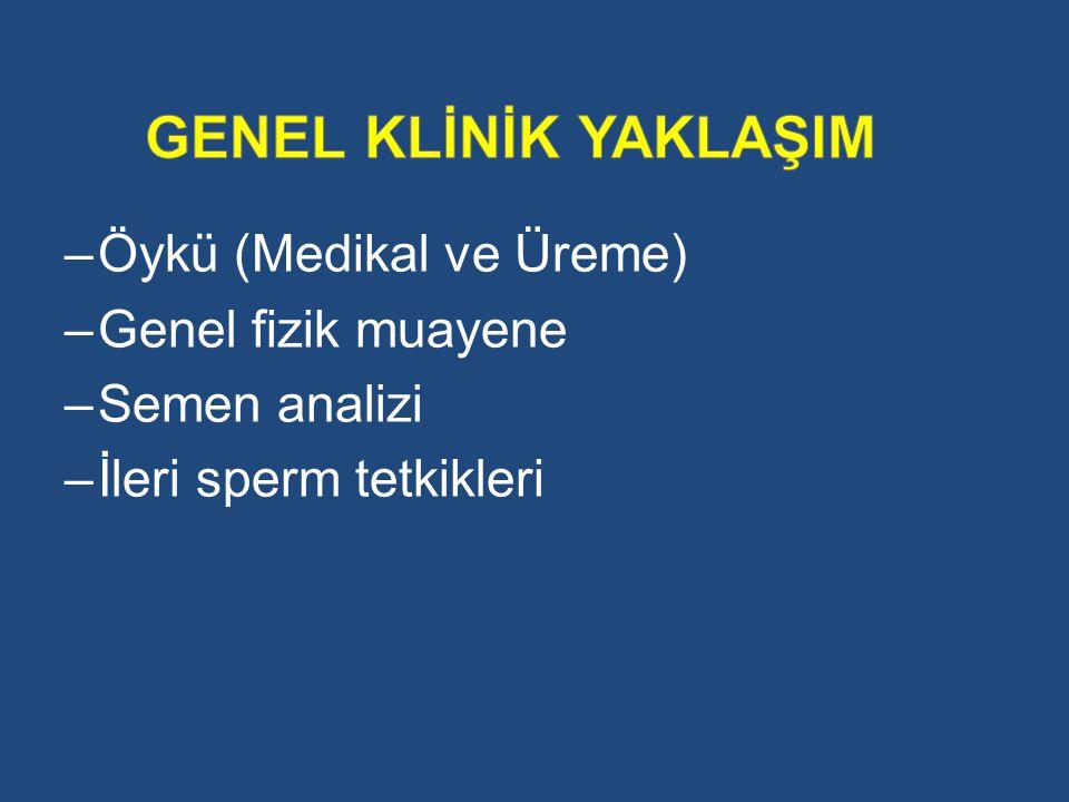 –Öykü (Medikal ve Üreme) –Genel fizik muayene –Semen analizi –İleri sperm tetkikleri