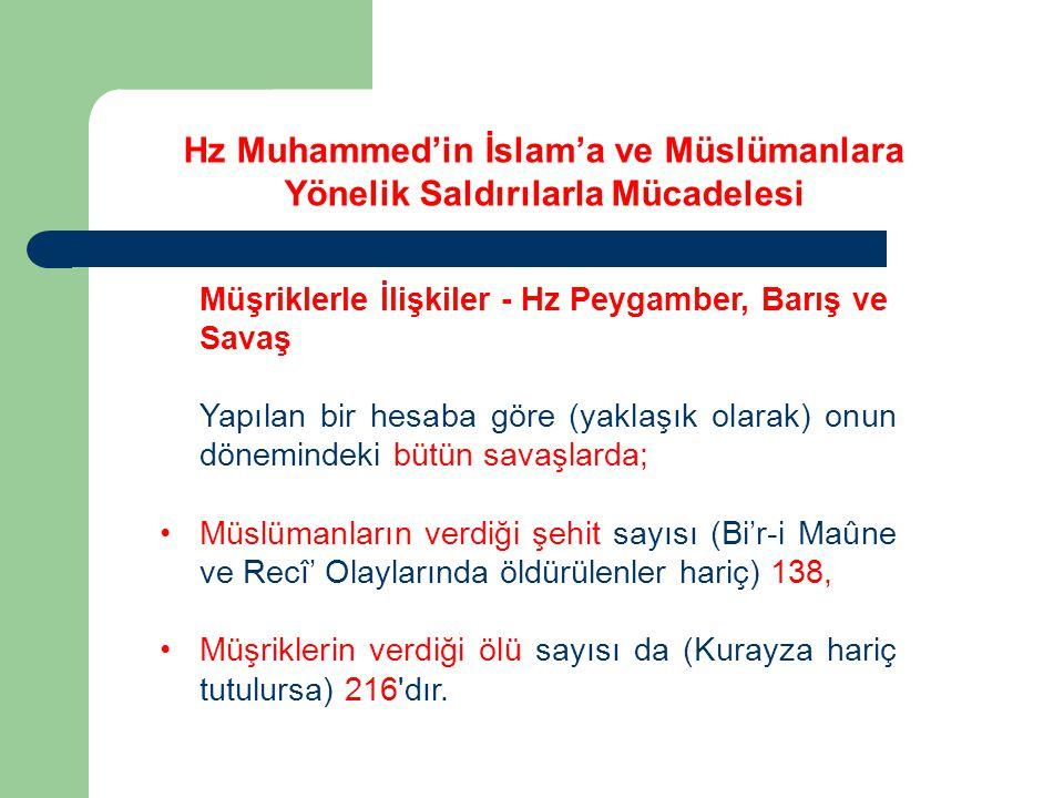 Müşriklerle İlişkiler - Hz Peygamber, Barış ve Savaş Yapılan bir hesaba göre (yaklaşık olarak) onun dönemindeki bütün savaşlarda; Müslümanların verdiğ