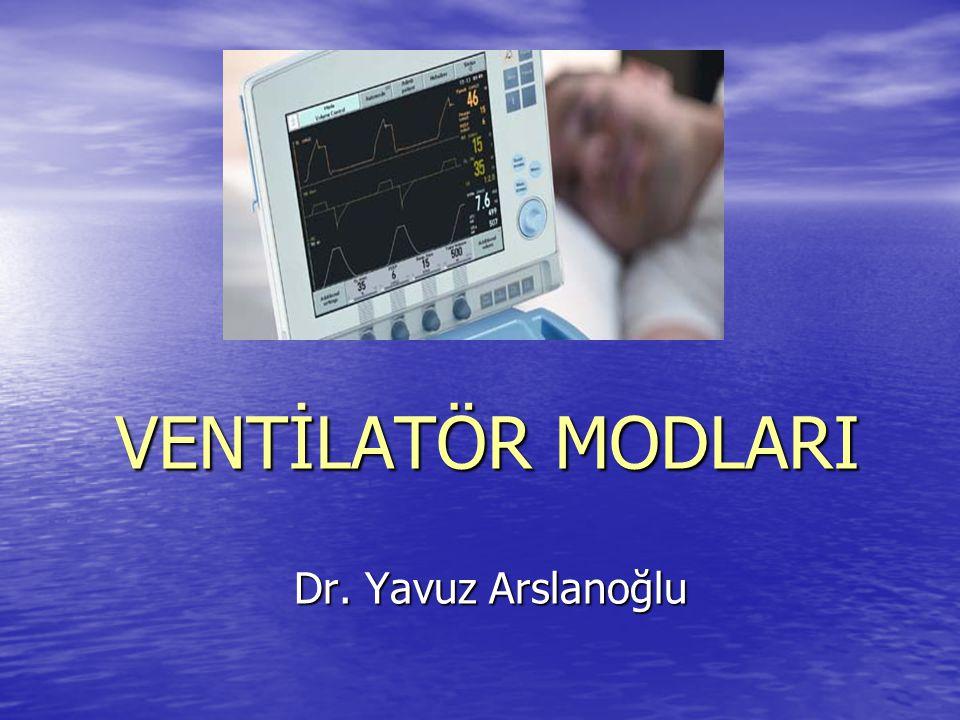 1) Kontrollü Mekanik Ventilasyon ( CMV ) (Volüm Kontrollü ) Belli bir süre sonunda ventilatör inspirasyondan ekspirasyona geçer.