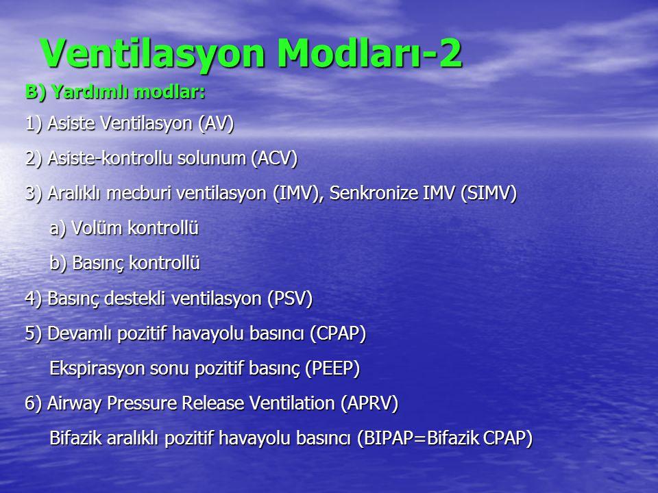 Ventilasyon Modları-2 B) Yardımlı modlar: 1) Asiste Ventilasyon (AV) 2) Asiste-kontrollu solunum (ACV) 3) Aralıklı mecburi ventilasyon (IMV), Senkroni