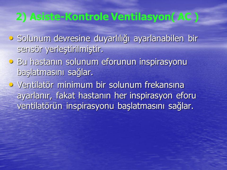 2) Asiste-Kontrole Ventilasyon( AC ) Solunum devresine duyarlılığı ayarlanabilen bir sensör yerleştirilmiştir. Solunum devresine duyarlılığı ayarlanab