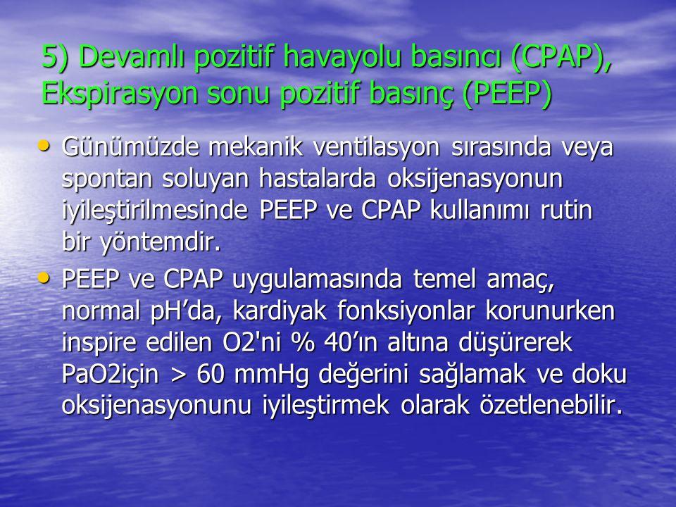 5) Devamlı pozitif havayolu basıncı (CPAP), Ekspirasyon sonu pozitif basınç (PEEP) Günümüzde mekanik ventilasyon sırasında veya spontan soluyan hastal
