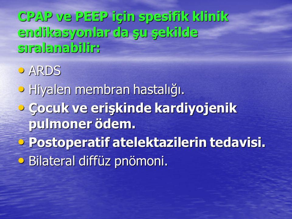 CPAP ve PEEP için spesifik klinik endikasyonlar da şu şekilde sıralanabilir: ARDS ARDS Hiyalen membran hastalığı. Hiyalen membran hastalığı. Çocuk ve