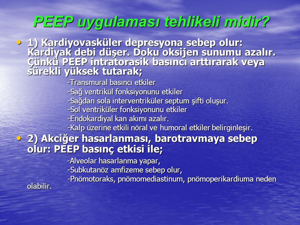 PEEP uygulaması tehlikeli midir? 1) Kardiyovasküler depresyona sebep olur: Kardiyak debi düşer. Doku oksijen sunumu azalır. Çünkü PEEP intratorasik ba