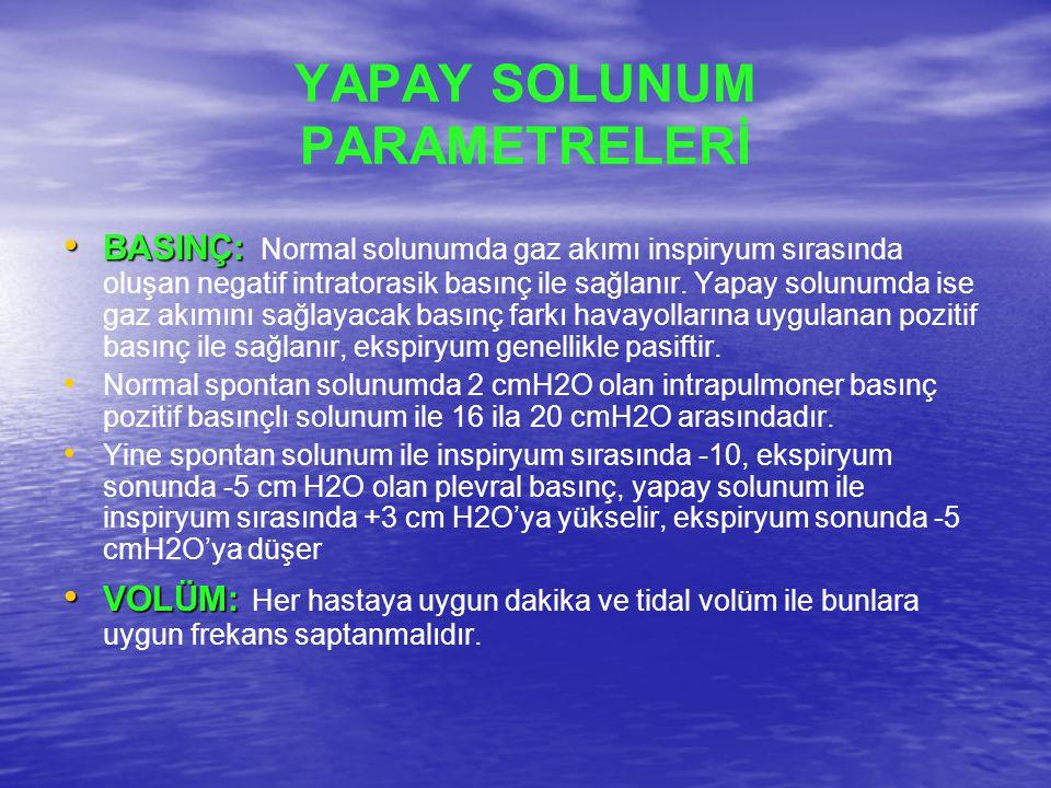 YAPAY SOLUNUM PARAMETRELERİ BASINÇ: BASINÇ: Normal solunumda gaz akımı inspiryum sırasında oluşan negatif intratorasik basınç ile sağlanır. Yapay solu